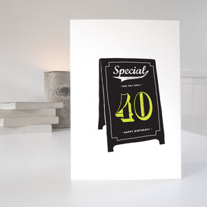 40th Special Age Birthday Card