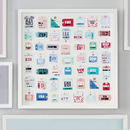 Personalised Travel Tag Artwork 49 tags Muted Colours