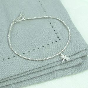 Sweet Petite Silver Dragonfly Charm Stacking Bracelet
