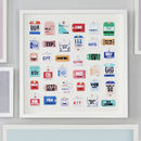 Personalised Travel Tag Artwork 36 Tags Bright colours