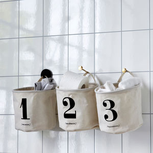 Set Of Three Canvas 123 Storage Bags