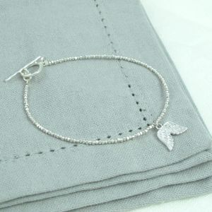 Sweet Petite Silver Angel Wings Charm Bracelet