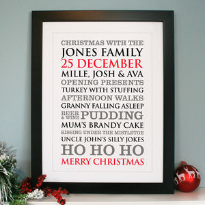 Personalised Christmas Typographic Art