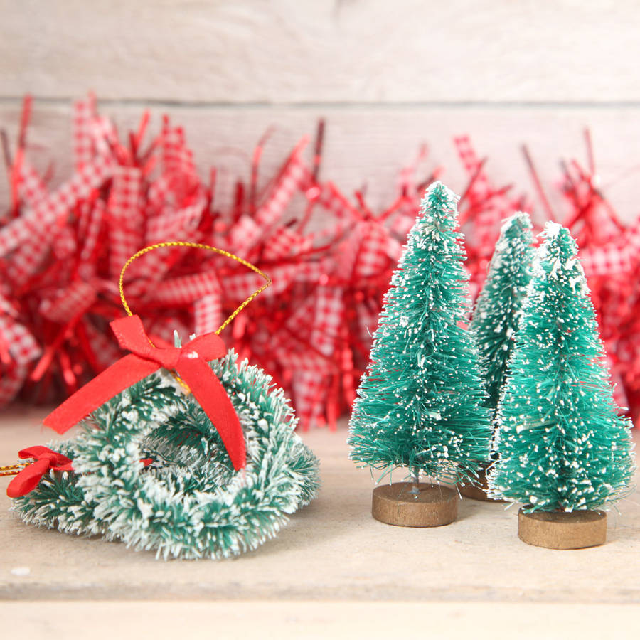 Red Berry Christmas Tree Decorations : Eight mini christmas tree and wreath decorations by red