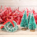 Eight Mini Christmas Tree And Wreath Decorations