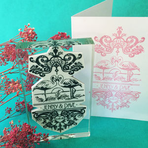 Personalised 'Filigree Flamingos' Invite Stamp - wedding stationery