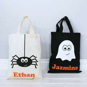 Personalised Halloween Ghost Or Spider Shopper Bag - trick or treat bags