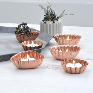 Copper Mould Tea Light Holders, Set Of Three - table decorations