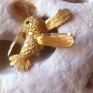 Vintage Gold Tone Kingfisher Brooch - pins & brooches