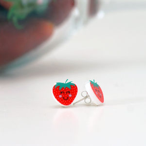 Strawberry Kitsch Acrylic Fashion Earrings - wimbledon inspiration