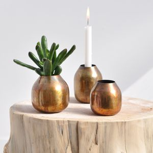 Brass Pot Vase Or Candle Holder - room decorations