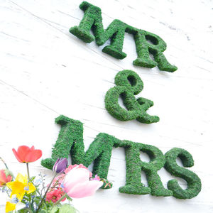 Moss Mr And Mrs Wedding Sign - hanging decorations