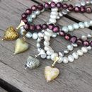 Pearl Necklace With Gold Flecked Murano Hearts