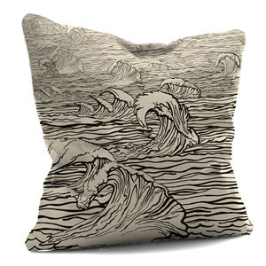 Black And White Sepia Wave Cushion - bedroom