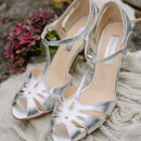 Ginger Leather T Bar Wedding Sandals