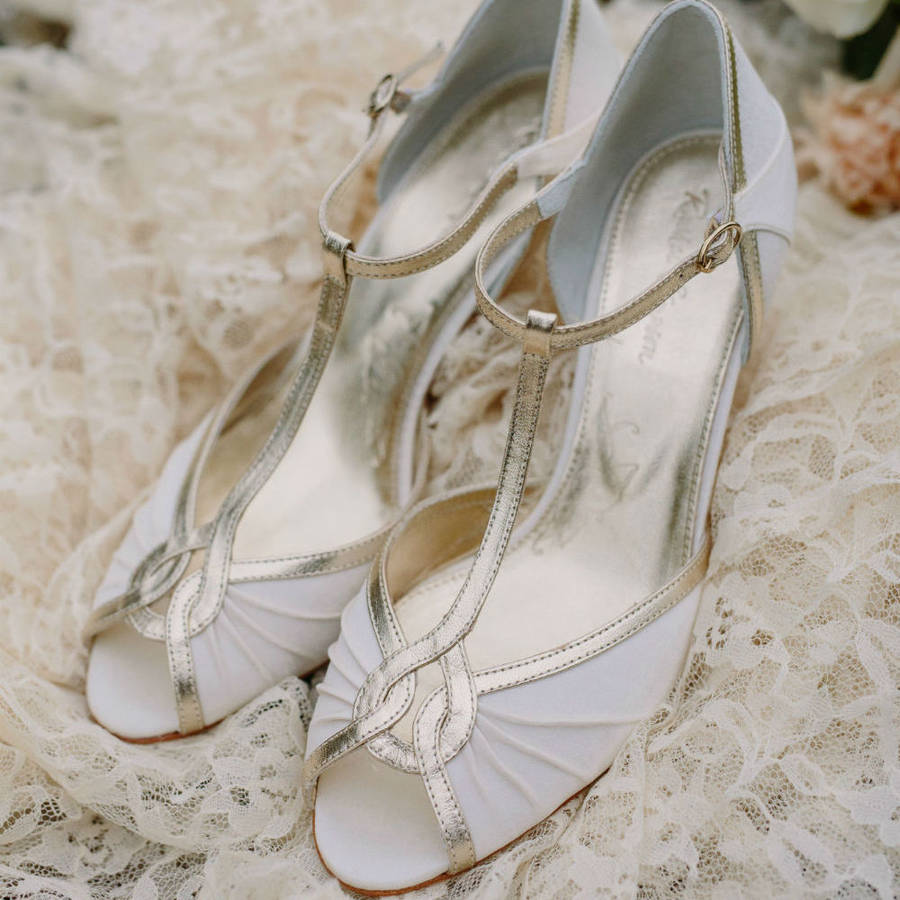 Mimi Ivory Satin T Bar Peep Toe Wedding Shoes By Rachel