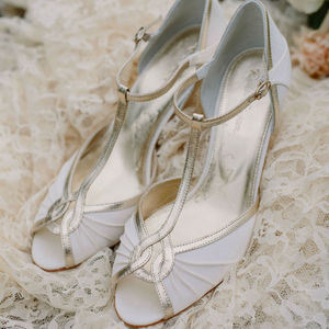Mimi Ivory Satin T Bar Peep Toe Wedding Shoes