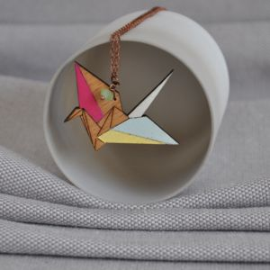 Crane Origami Wooden Necklace
