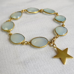 Chalcedony And Gold Star Bracelet