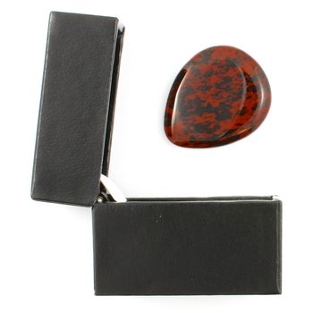 Mahogany Obsidian Guitar Pick / Plectrum In A Gift Box