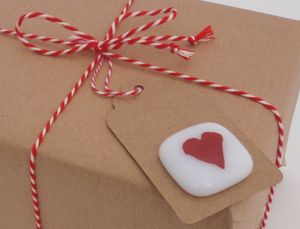Handmade Glass Heart Keepsake Gift Tag
