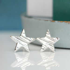 Sculpted Silver Star Stud Earrings - earrings