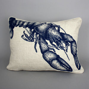Hand Printed Linen Lobster Cushion