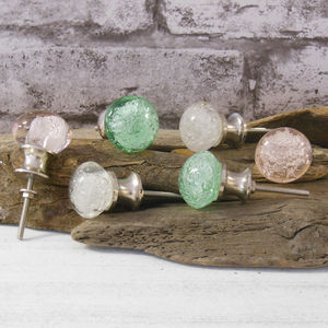 A Set Of Six Bubble Glass Cupboard Knobs - door knobs & handles