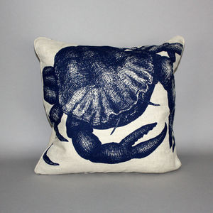 Hand Printed Linen Crab Cushion - bedroom