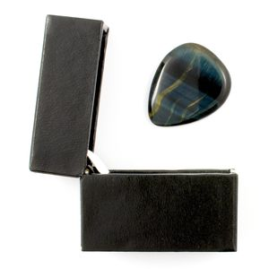 Blue Tiger Eye Guitar Pick / Plectrum In A Gift Box - plectrums