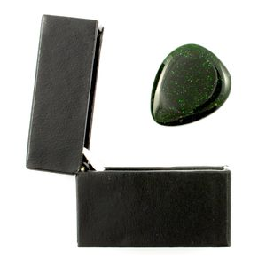 Green Goldstone Guitar Pick / Plectrum In A Gift Box
