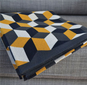Tumbling Blocks Cotton Knit Throw: Three Colourways