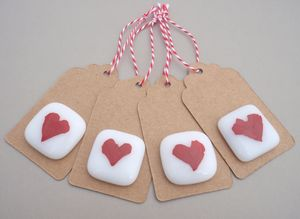 Pack Of Four Handmade Glass Heart Keepsake Gift Tags