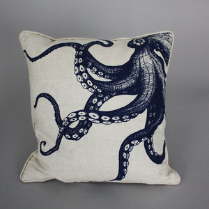 Hand Printed Linen Octopus Cushion