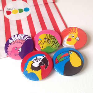 Bird Badges - party bags and ideas