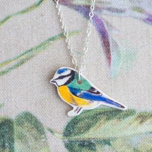 Blue Bird Printed Pendant - women's jewellery