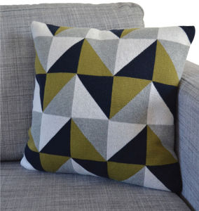 Triangles Cotton Knit Cushion: Three Colourways - bedroom