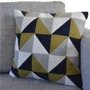 Olive Green Geo Knit Cushion