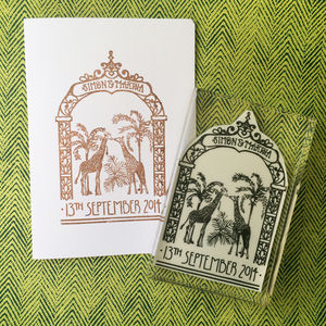 Personalised 'Filigree Giraffes' Invite Stamp