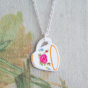 Rose Tea Cup Pendant - women's jewellery