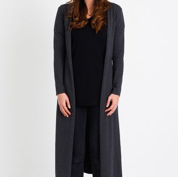 Lottie Long Cardigan Charcoal Grey