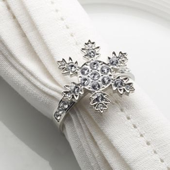Set Of Four Diamante Snowflake Napkin Rings