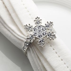 Set Of Four Diamante Snowflake Napkin Rings - kitchen
