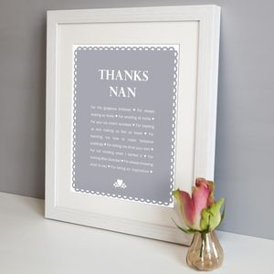 Personalised 'Thanks Grandma' Print - art & pictures
