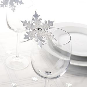 Pack Of Ten Silver Snowflake Christmas Place Cards - table decorations