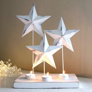 White Star Trio Tealight Holder - candles & candlesticks