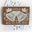 Linocut Wedding Bell Card