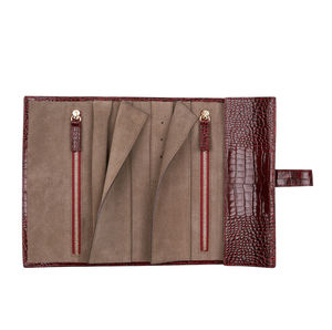 Croc Print Leather Travel Jewellery Roll - women's jewellery
