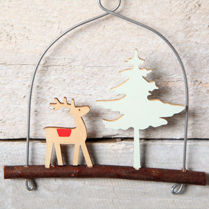 Reindeer And Tree On A Branch Decoration Hanging