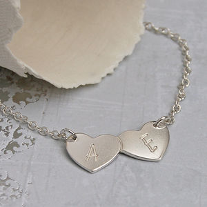 Personalised Silver Two Hearts Necklace